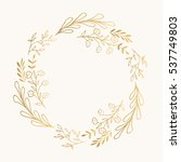golden wreath. vector. isolated. | Shutterstock .eps vector #537749803