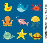 cartoon fishes collection. ... | Shutterstock .eps vector #537758548