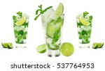 mojito isolated on white... | Shutterstock . vector #537764953
