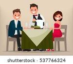 young couple having dinner in a ... | Shutterstock .eps vector #537766324