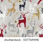 snowy deer pattern | Shutterstock . vector #537769498