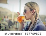 woman drink beer | Shutterstock . vector #537769873