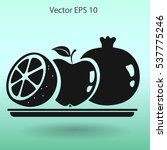flat fruit on a plate icon. | Shutterstock .eps vector #537775246