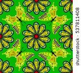 mandalas background. green ... | Shutterstock .eps vector #537811408