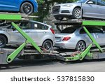 Car transporter trailer on the...