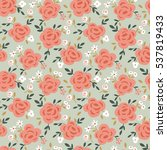 rose flower seamless pattern... | Shutterstock .eps vector #537819433