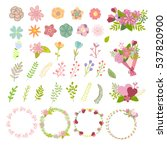 set of flat icon flower icons... | Shutterstock .eps vector #537820900