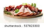 food tray with delicious salami ... | Shutterstock . vector #537823303