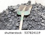 black coal lying and shovel on... | Shutterstock . vector #537824119