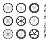 set of bicycle wheels in flat... | Shutterstock .eps vector #537825046