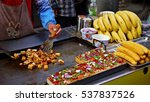 a shop owner is cooking spicy... | Shutterstock . vector #537837526