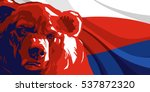 angry bear against and russian... | Shutterstock .eps vector #537872320