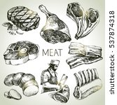 Hand Drawn Sketch Meat Product...