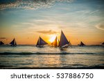 sailboats with blue sails at... | Shutterstock . vector #537886750