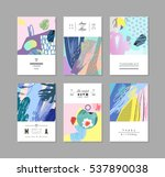 Collection of creative universal artistic cards. Hand Drawn textures. Trendy Graphic Design for banner, poster, card, cover, invitation, placard, brochure, flyer. Vector. Isolated. | Shutterstock vector #537890038