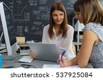 Small photo of Two businesswomen having a friendly discussion as they sit together at a table in the office sharing a laptop computer