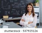 confident young businesswoman... | Shutterstock . vector #537925126
