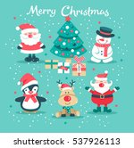 christmas set with santa claus  ... | Shutterstock .eps vector #537926113