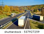 three passing the trucks on a... | Shutterstock . vector #537927259