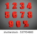 3d red metallic letter. 0  1  2 ... | Shutterstock .eps vector #537954883