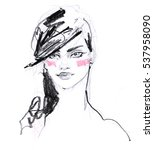 hand drawn young woman fashion... | Shutterstock . vector #537958090