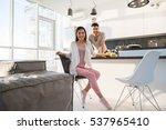 young couple having breakfast ... | Shutterstock . vector #537965410