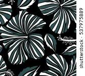 hibiscus flower seamless... | Shutterstock . vector #537975889