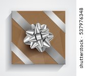 brown gift box   silver... | Shutterstock .eps vector #537976348
