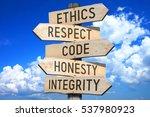 wooden signpost   code of... | Shutterstock . vector #537980923