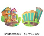 illustration of buildings in... | Shutterstock . vector #537982129