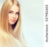 beautiful blonde woman with...   Shutterstock . vector #537982603