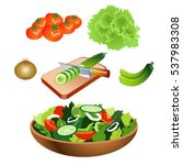vegetable salad with flat... | Shutterstock .eps vector #537983308