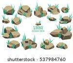 cartoon stone set. brown rock... | Shutterstock .eps vector #537984760