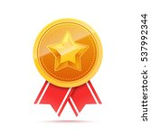 3D Gold medal with star and red ribbon. Winner award icon. Best choice badge. Vector illustration | Shutterstock vector #537992344