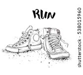 hand drawn sneakers on white... | Shutterstock .eps vector #538015960