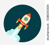 rocket start up concept flat... | Shutterstock . vector #538035304