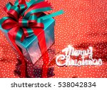 colorful gift box on color red  ... | Shutterstock . vector #538042834
