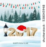 new year background with a 2017 ... | Shutterstock .eps vector #538045948
