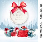christmas presents with a gift... | Shutterstock .eps vector #538053310