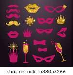 pink and gold moustaches  lips  ... | Shutterstock .eps vector #538058266