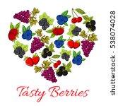 berries heart shape. vector... | Shutterstock .eps vector #538074028