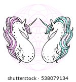 the cute magic unicorn and... | Shutterstock .eps vector #538079134