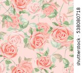romantic roses. seamless floral ... | Shutterstock . vector #538080718