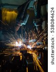 industrial  robots are welding... | Shutterstock . vector #538084624