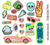 pop art fashion chic patches ... | Shutterstock .eps vector #538106794