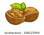 walnut cartoon vector... | Shutterstock .eps vector #538122904