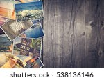 Travel Photo Collage On Wooden...