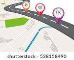 location icons on the map. road ... | Shutterstock .eps vector #538158490