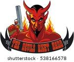 devil holding pistol and banner ...   Shutterstock .eps vector #538166578