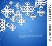 card with snowflakes on blue... | Shutterstock .eps vector #538168990